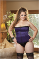 Satin & Spandex Corset Top - Purple - 44