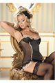 Stretch Satin And Scallop Lace Corset Black/Nude L